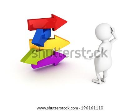 3d person make choice on arrows crossroad. concept 3d render illustration - stock photo