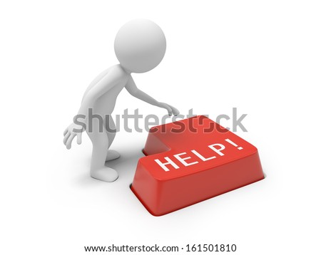 3d person, man, human pressing a red keyboard with word on it - stock photo