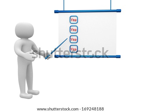 3d person - man, people  with a checklist. Businessman. - stock photo