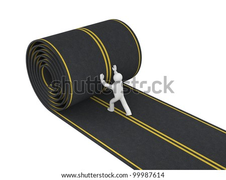 3d person paves road. Image contain clipping path - stock photo