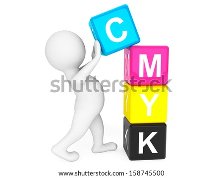 3d person placing CMYK Cubes on a white background - stock photo