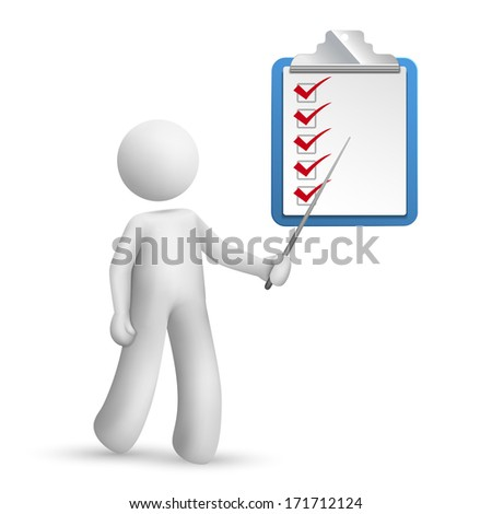 3d person pointing at a clipping note pad and check list isolated white background - stock photo