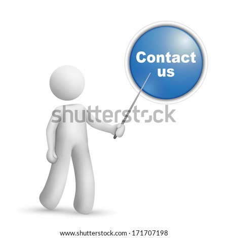 "3d person pointing at a ""contact us"" button isolated white background"