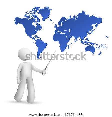 3d person pointing at a map of the world isolated white background - stock photo