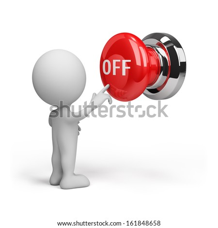 3d person pressing the button off. 3d image. White background.