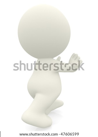3D person pushing something  - isolated over a white background