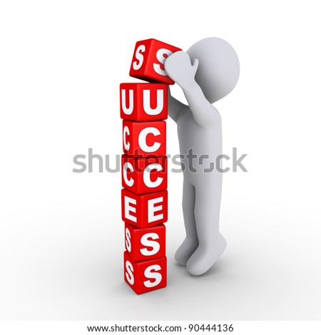 3d person putting the last block of success letters - stock photo