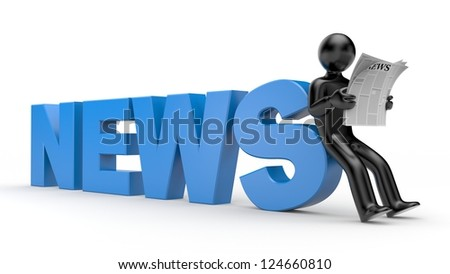 3d person read newspaper - stock photo