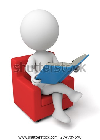 3d person reading a book. 3d image. Isolated white background.