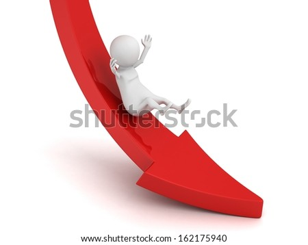 3d person rolls down red concept crisis arrow