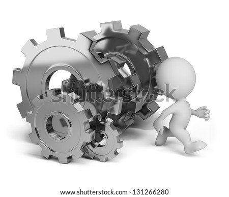 3d person running away from the gears wheels. 3d image. White background. - stock photo