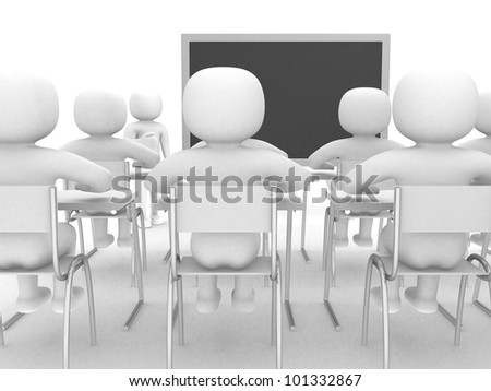 3d person showing the blackboard by hand. this is a 3d illustration