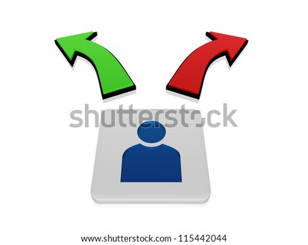 3d person sign in block with green and red arrows in opposite directions - stock photo