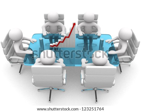 3d person sitting at table and having business meeting - 3d render - stock photo