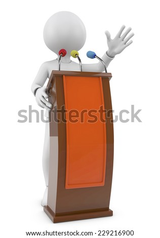 3D person speaking at a conference from the tribune. 3d image. White background.