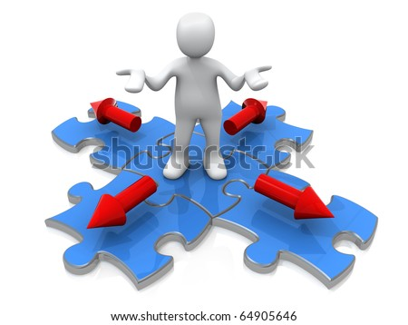 3d person standing on a jigsaw puzzle with arrow pointing in four directions.