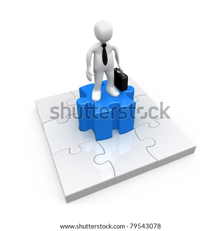 3d person standing on the middle piece of a jigsaw puzzle. - stock photo