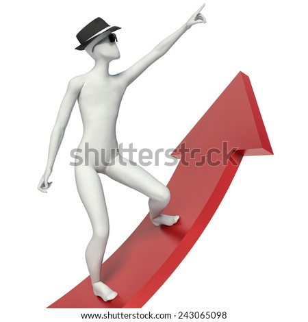 3d person stands on the arrow chart - stock photo