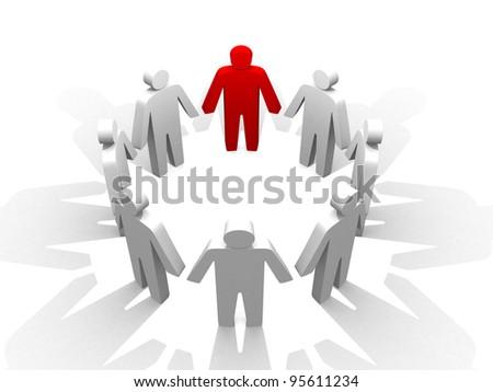3d person teamwork - 3d render illustration - stock photo