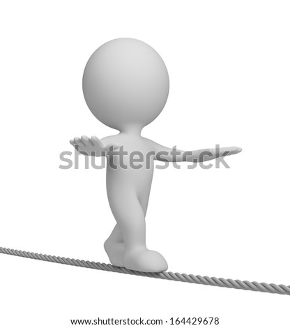 3d person walking on a tightrope. 3d image. White background. - stock photo