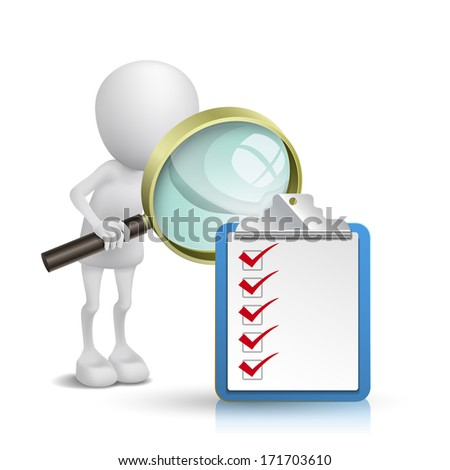 3d person watching a clipping note pad and check list with a magnifying glass - stock photo