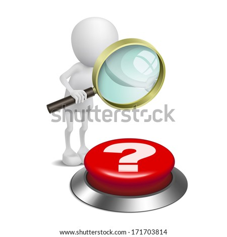 3d person watching the question mark button with a magnifying glass - stock photo