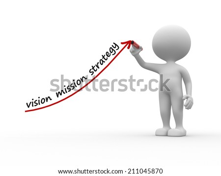3d  person with a arrow. Vision, mission, strategy - stock photo