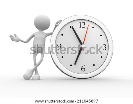 3d person with a big clock