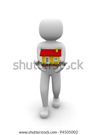 3d person with a house. Presentation. 3d render illustration