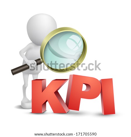 3d person with a magnifying glass and KPI - stock photo