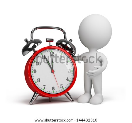 3d person with a red alarm clock. 3d image. White background.