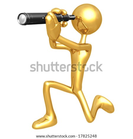 3D Person With A Telescope