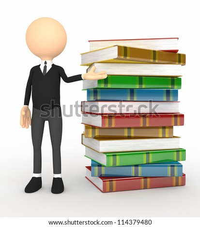 3d person with  books. Computer generated image - stock photo