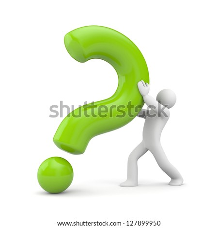 3d person with green question mark - stock photo
