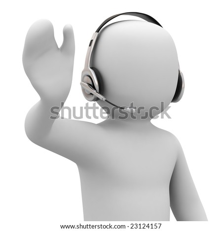 3d person with headset on white background - stock photo