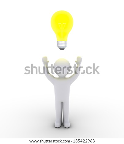 3d person with light bulb over his head