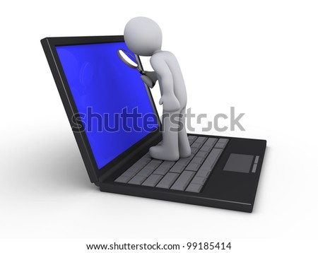 3d person with magnifier standing on a laptop