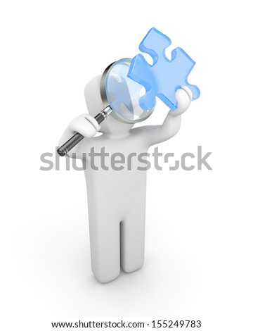 3d person with magnify glass examines puzzle