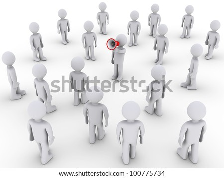 3d person with megaphone and others walking towards him - stock photo