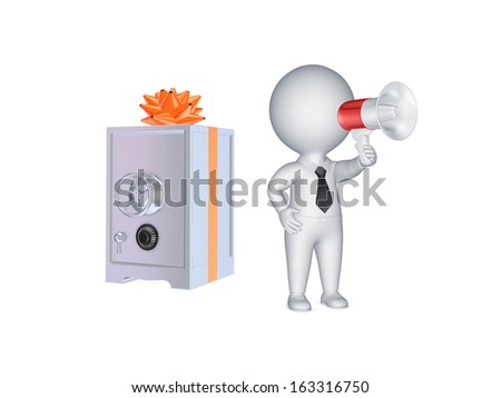 3d person with megaphone and safe.Isolated on white.3d rendered.