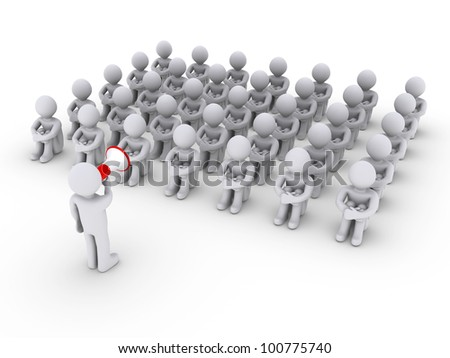 3d person with megaphone is talking to others sitting down