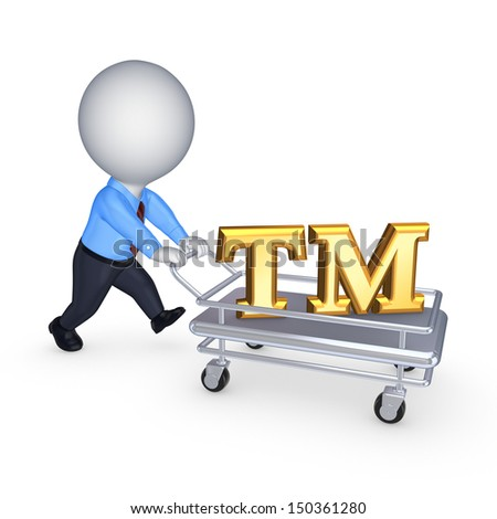 3d person with pushcart and TM symbol.Isolated on white.3d rendered. - stock photo