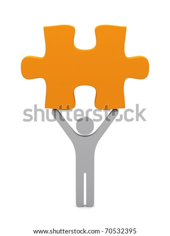 3d person with puzzle. - stock photo