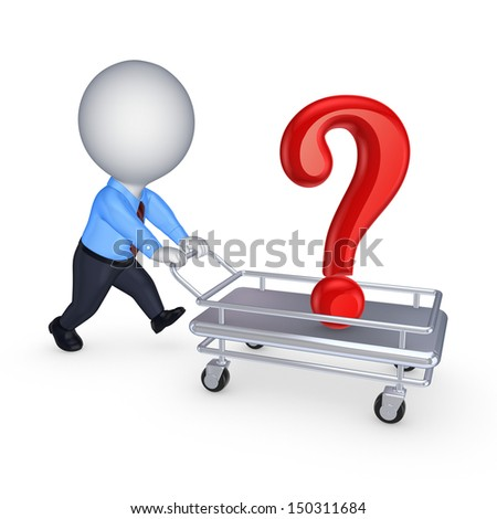 3d person with query mark on a pushcart.Isolated on white.