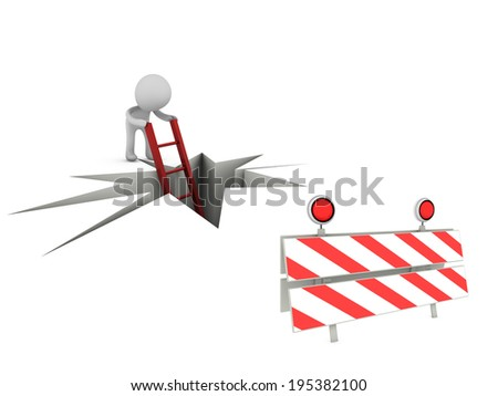 3d person with traffic panel  - stock photo