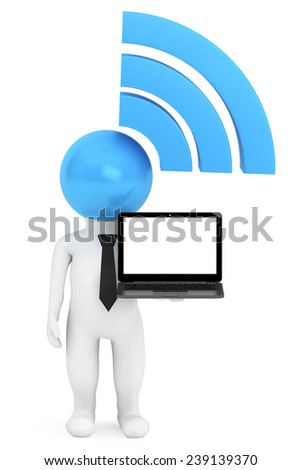 3d Person with WiFi sign and Laptop on a white background