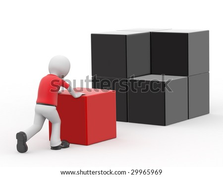 3d personage and cubes on white background.