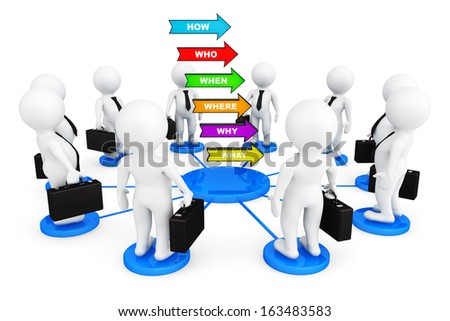 3d persons businessmans around Several colorful arrows with various questions on a white background