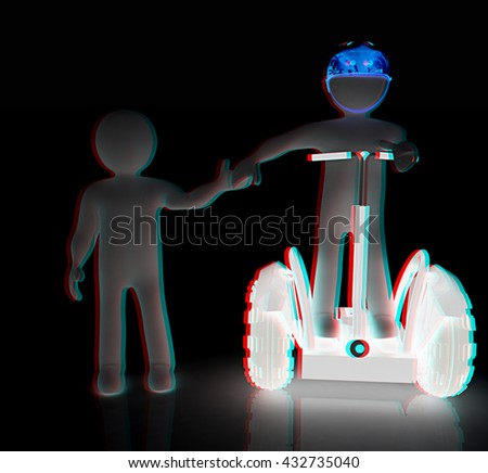 3d persons riding on a personal and ecological transports. On a black background. 3D illustration. Anaglyph. View with red/cyan glasses to see in 3D. - stock photo