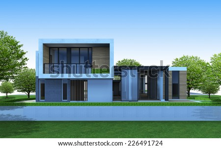 3D perspective of house with green area space. - stock photo